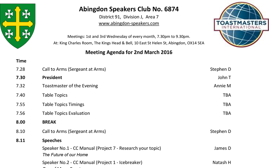 Meeting – 2nd March 2016