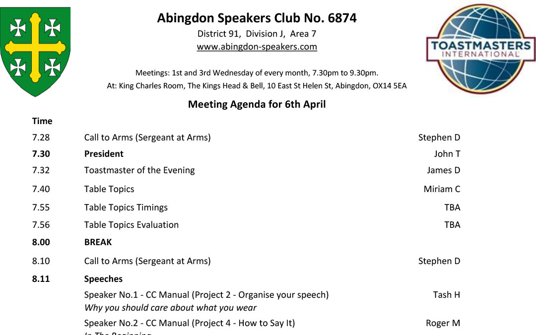 Meeting – 6th April 2016