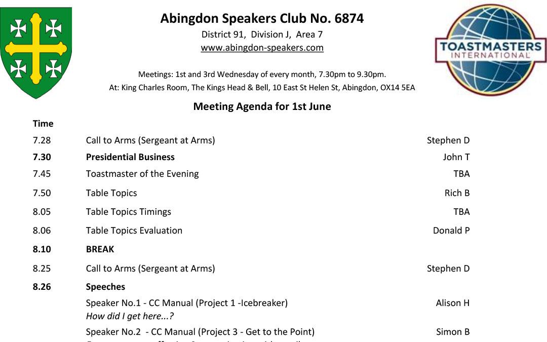 Meeting – 1st June 2016
