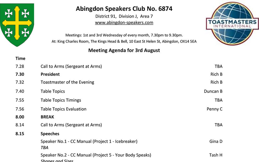 Meeting – 3rd August 2016
