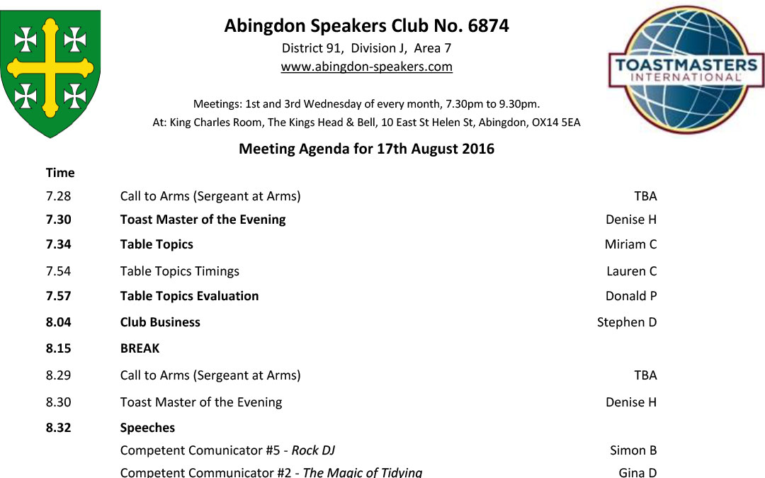 Meeting – 17th August 2016