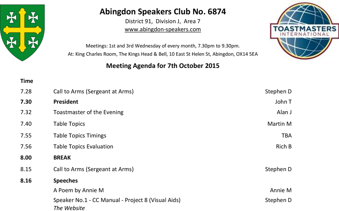 Meeting – 7th October 2015