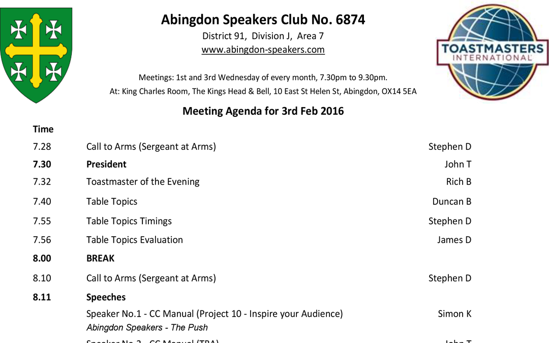 Next Meeting – 3rd February 2016