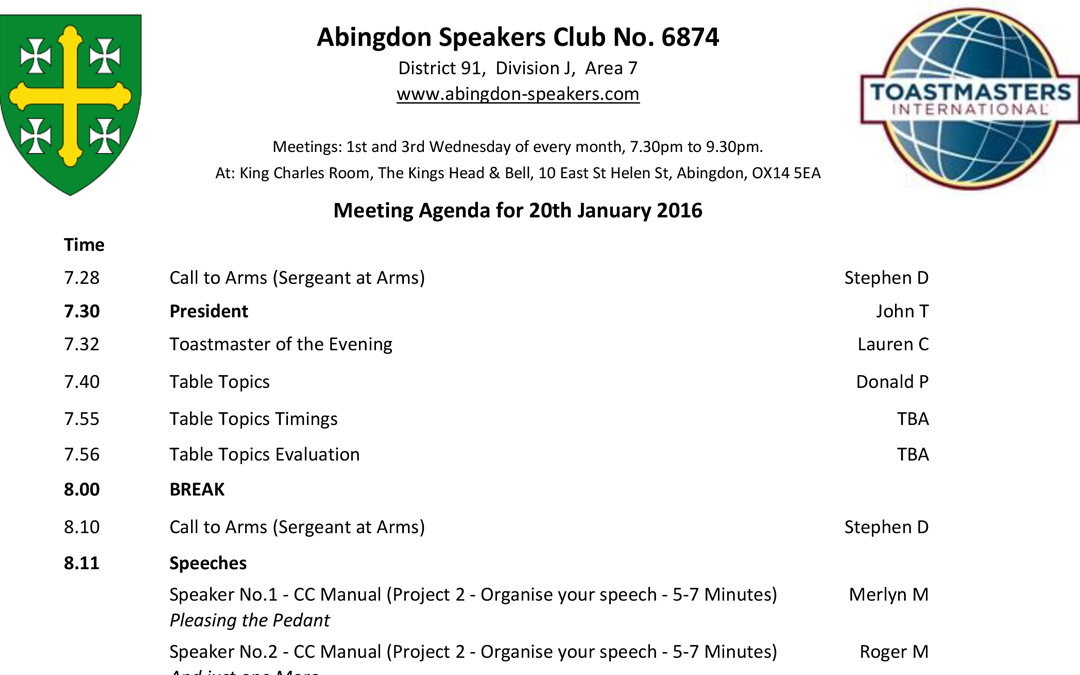 Meeting – 20th January