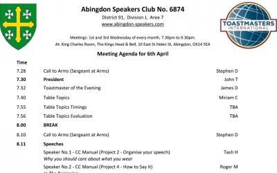 Meeting – 6th April 2016