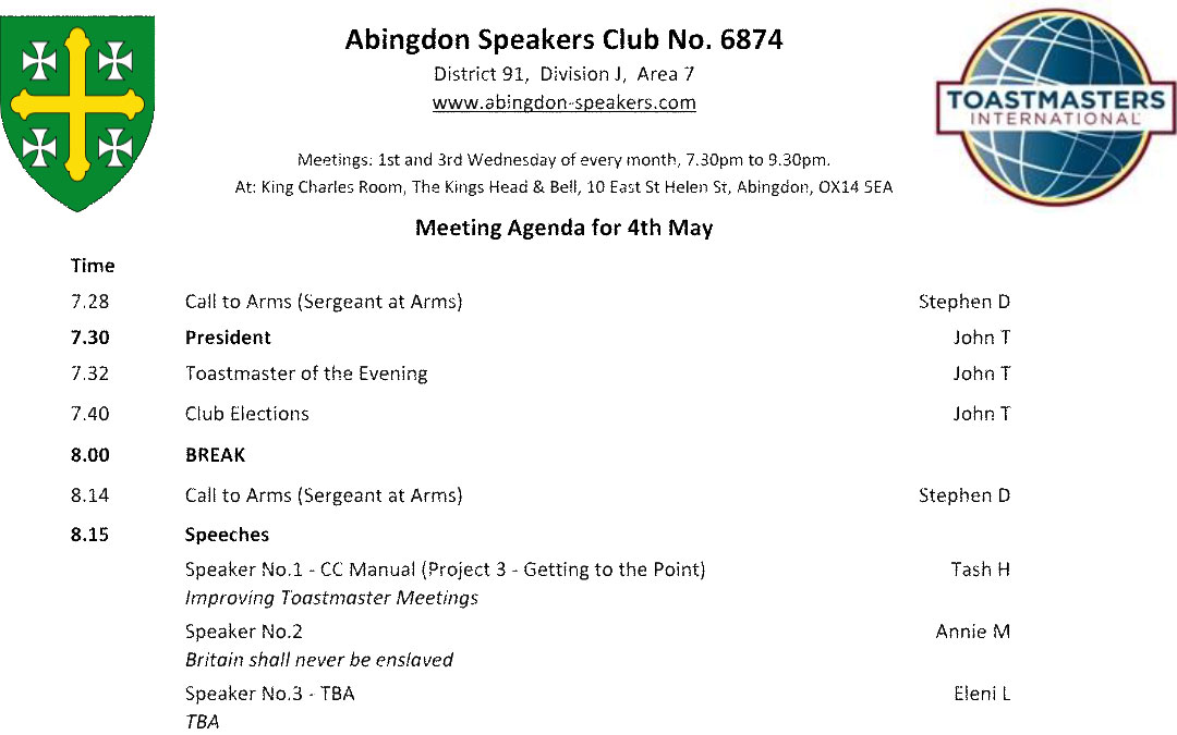 Meeting – 4th May 2016