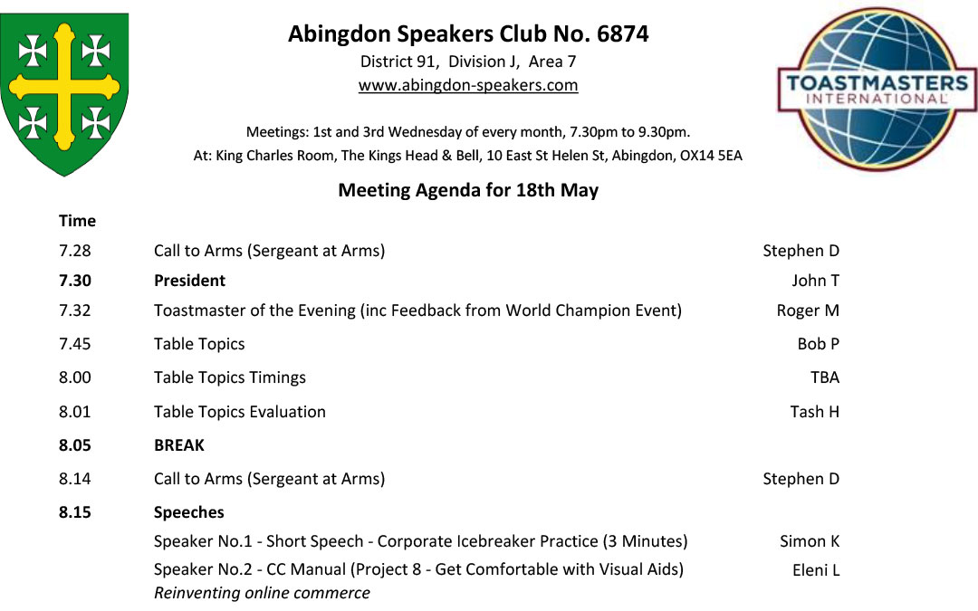 Meeting – 18th May 2016