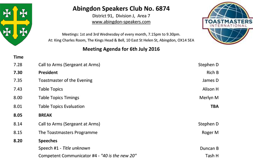 Meeting – 6th July 2016