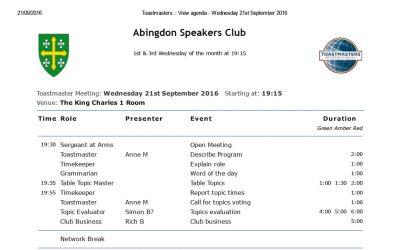 Next Meeting – 21st September 2016
